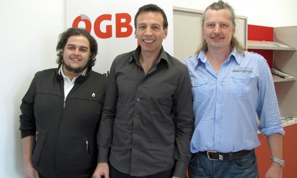 Der neu gewählte Tiroler Betriebsrat (v.l.): Manuel Unterkicher, Hansjörg Hanser, Harald Kuenz (Foto: ÖGB)