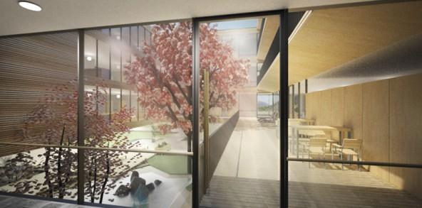 Als Atriumbau wird das neue Wohn- und Pflegeheim auch in der inneren Struktur offen und kommunikativ gestaltet.