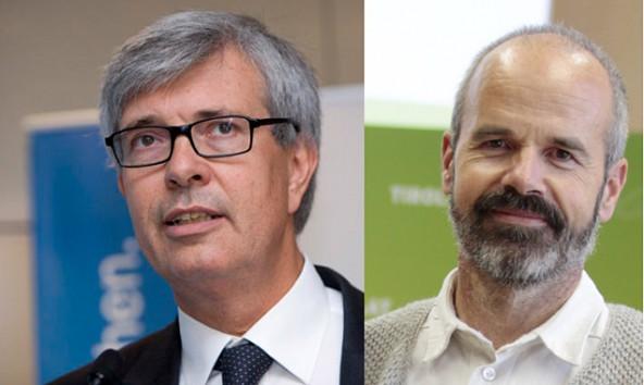Walter Boltz (links) will eine Netzabgabe von privaten Sonnenstromerzeugern, Thomas Haidenberger hält das für eine schlechte Idee. Fotos: e-control/Grüne
