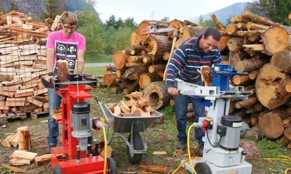 Versorgen im Herbst viele Haushalte mit Brennholz, Daniel Idl und Robert Koller von der Lebenshilfe Arbeitsorientierung. Foto: Niederwieser
