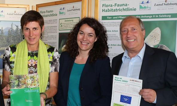 Astrid Rössler, Ingrid Felipe und Rolf Holub sind für den Umweltschutz in Salzburg, Tirol und Kärnten zuständig – und damit auch für Natura 2000. Foto: Landesmedienzentrum Salzburg
