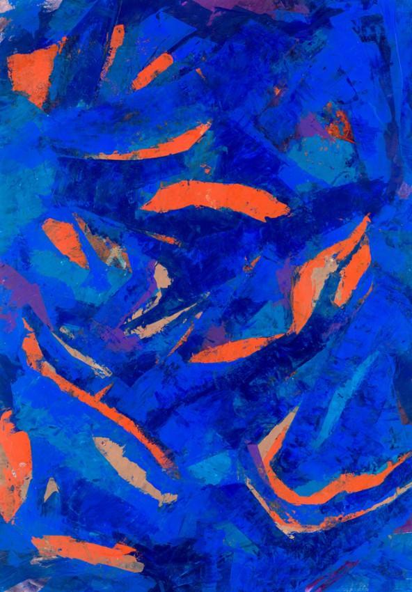 """Eva Buchrainer: """"Bewegte Stille"""", Acryl auf Karton, 70 x 50 cm"""