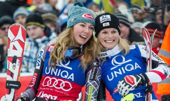 Grund zum Jubeln hatten am 2. Renntag in Lienz Mikaela Shiffrin (USA)als Zweitplatzierte und Slalomsoegerin Marlies Schild. Foto: Expa/Gruber