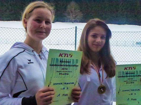 Siegten im Doppel der U 16-Mädchen: Julia Schmuck und Melanie Fiechtner.