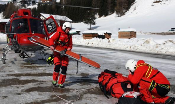 Die verletzte Tourengeherin wurde in Kals mit dem Helikopter geborgen. Foto: Expa