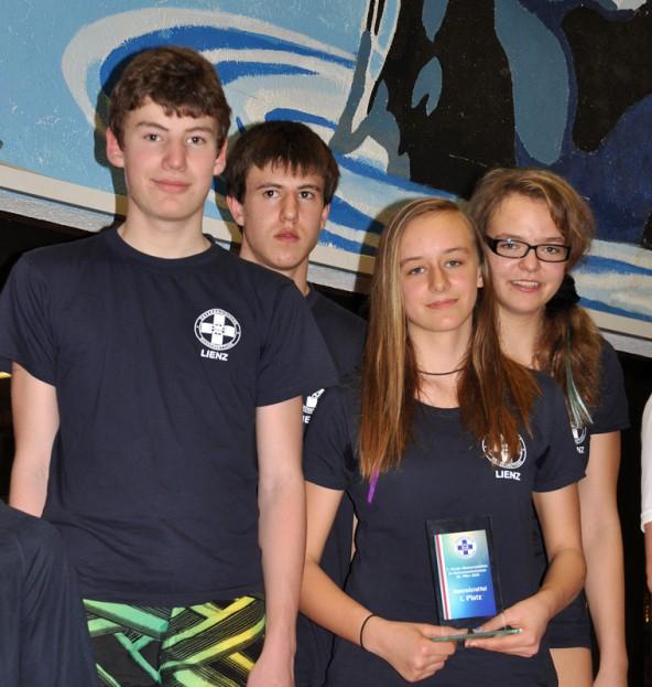 Die Teilnehmer der Jugendstaffel v.l.: Daniel Oberlojer, Markus Petutschnig, Anja Buchsbaum und Sarah Buchsbaum.