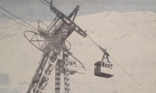 Othmar Eder, Gondelbahn, 2007, Eitempera und Zeichnung / Papier.