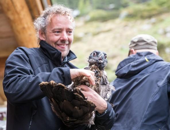 """""""Mister Bartgeier"""" Michael Knollseisen mit einem seiner Schützlinge. Sei 15 Jahren betreut der Biologe bereits die Bartgeier im Nationalpark Hohe Tauern. Fotos: Expa/Groder"""