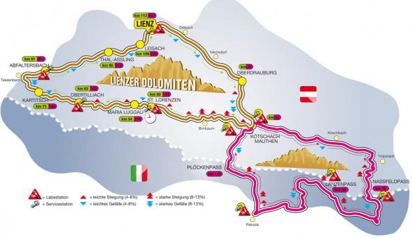 Über 232 Kilometer mit knappen 5.000 Höhenmetern führt der neue Supergiro Dolomiti. Grafik: LRC