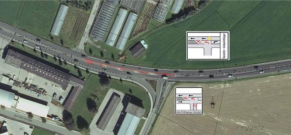 In Zukunft geht es für Verkehrsteilnehmer, welche von der Peggetz kommen, auf den Linkseinbiegestreifen. Die Kreuzung soll damit Leistungsfähiger werden. Skizze: Baubezirksamt Lienz
