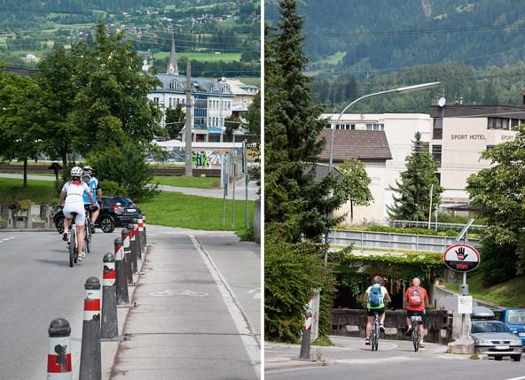 Die einen radeln lieber auf der Straße als auf dem Radweg, die anderen düsen gegen die Fahrtrichtung in die Unterführung … Alltag im Lienzer Radlersommer.