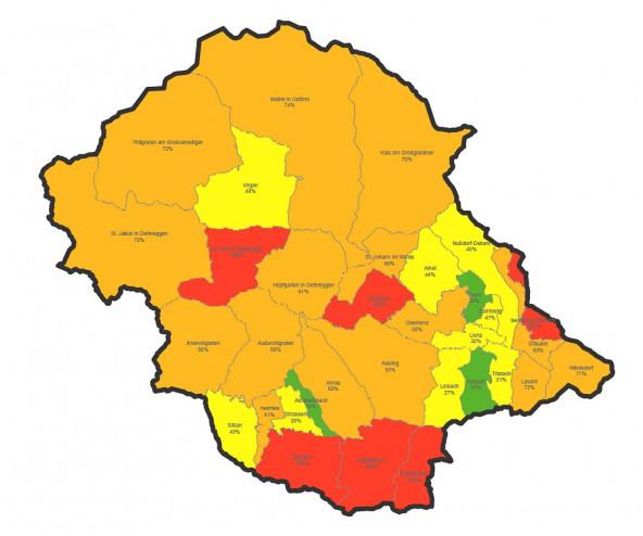 Alarmstufe rot – für acht Gemeinden gilt das, doch auch in der orangen Zone ist keine Entspannung angesagt.