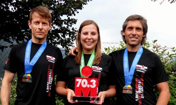 Bernd Amoser, Stephanie Rainer und Peter Raneburger (von links) kämpften sich beim 70.3 Ironman in Zell am See ganz nach vorne.