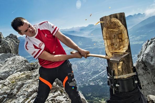 Österreichs Trumpf bei der Hol,zhacker-WM ist Armin Kugler.