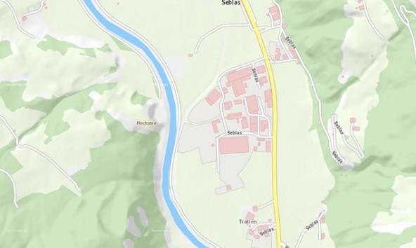 In diesem Bereich soll die Isel fischgerecht aufgeweitet und als Erholungsraum aufgewertet werden. Karte: basemap.at