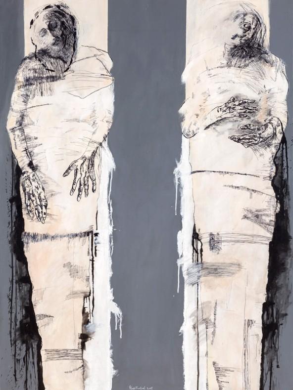 "Alfred Fuetsch: ""Figure II"", Acryl Tusche Leinen, 120 cm x  90 cm"