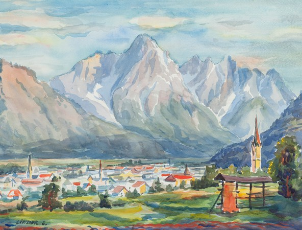"Siegfried Linder: ""Lienz mit Spitzkofel"", Aquarell auf Papier, 38 cm x 50 cm"