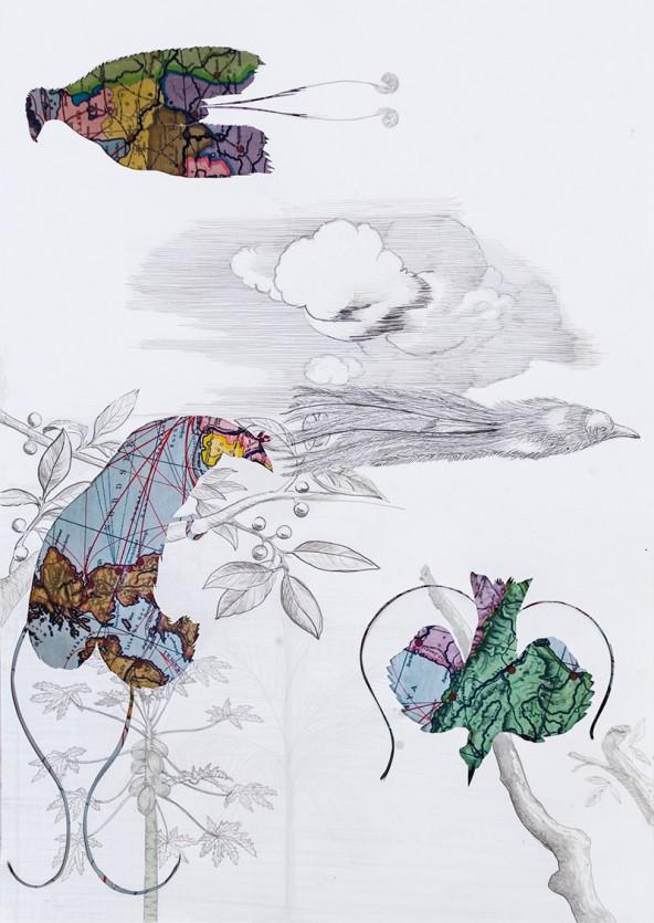 """Gabriele Sturm: """"Die Reise der Feder, von einem Ende der Handelskette zum anderen"""" Collage/De-Collage, 2013, 60 cm x 42 cm"""