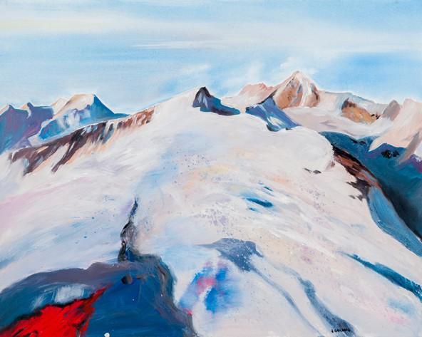 "Herbert Gaschnig: ""Figerhorn mit Großglockner"", Acryl auf Leinwand, 80 cm x 100 cm"