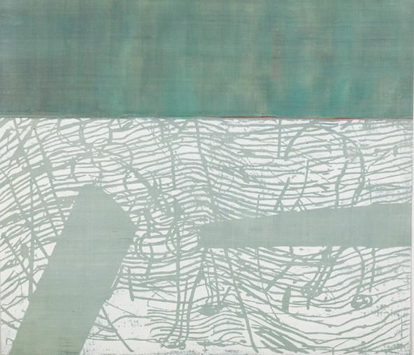 """Othmar Eder: """"Landschaft"""", Eitempera und Holzschnitt auf Papier, 50 cm x 58 cm"""