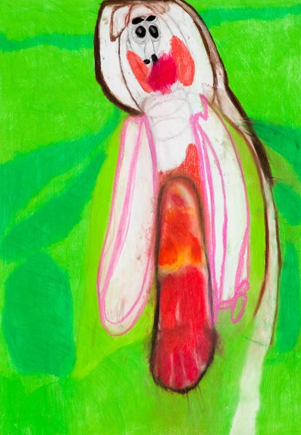 """Sylvia Manfreda: """"Baby  nach Gustav Klimt"""", Pastell auf Papier, 100 cm x 70 cm"""