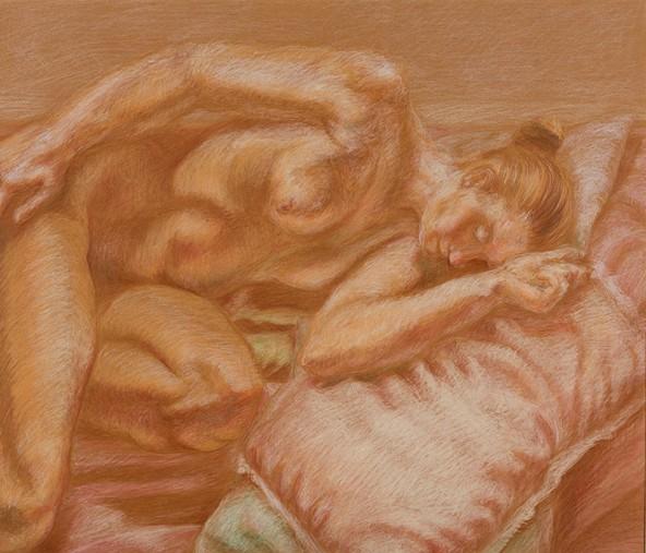 """Hedwig Meinhart: """"Anmut versus Kommerz"""", Pastell, 49 cm x 58 cm"""