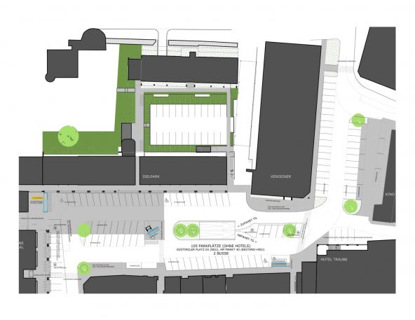 So sollen die 105 oberirdischen Stellplätze sowie die Ein- und Ausfahrt auf dem Südtirolerplatz und dem Neuen Markt organisiert werden. Plan: Architekt Wurzer