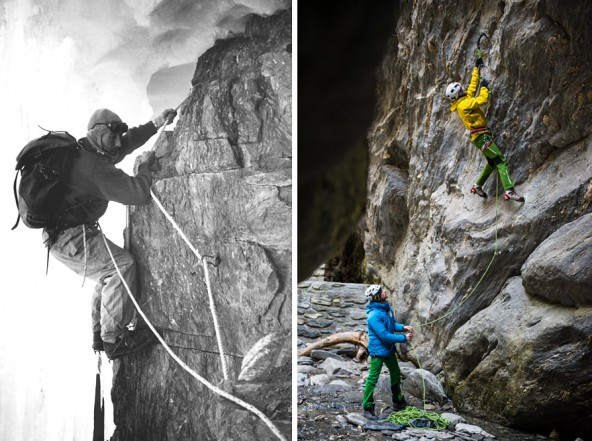 56 Jahre liegen zwischen diesen beiden Fotos. Toni Egger galt in den fünfziger Jahren als einer der besten Kletterer der Welt. Heute dürfen sich Toni Ponholzer und Peter Ortner zu diesem Kreis zählen. Sie folgen im Jänner den Spuren Eggers in Patagonien. Fotos: Alpenraute / Rainer Eder