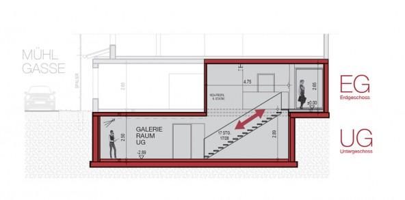 Durch die Entfernung einer Zwischendecke wird die neue Galerie ein Kunstraum mit spannenden Perspektiven.