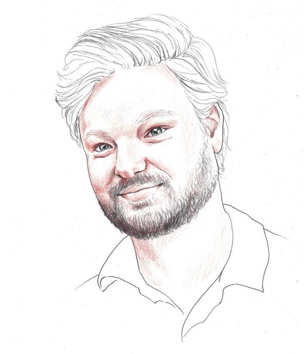 Carl Neumayr, porträtiert von Linda Steiner.