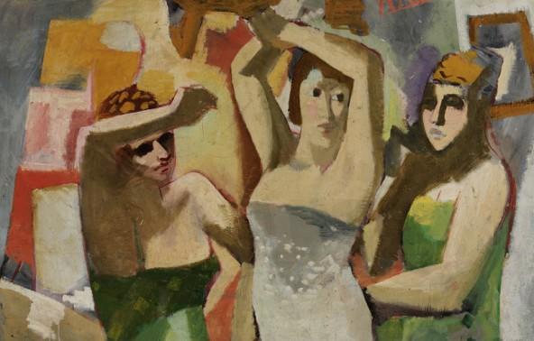 Drei Modelle, 1932, Öl auf Leinwand, Christian Hess