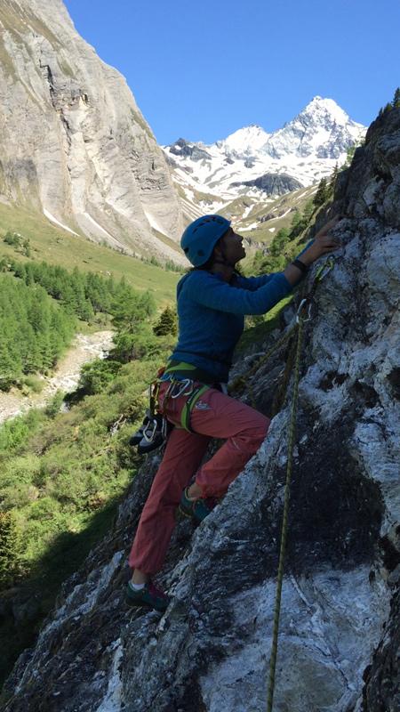 Der Ausblick auf den Großglockner lenkt geradezu vom Klettern ab.