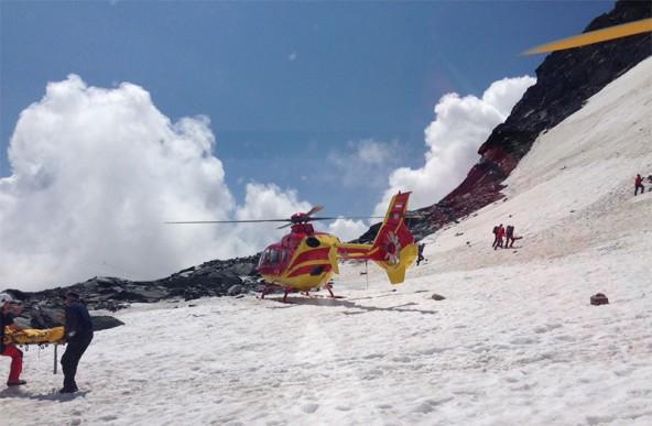 In 3.500 Metern Seehöhe wurden die deutschen Alpinisten versorgt und ausgeflogen. Foto: C7
