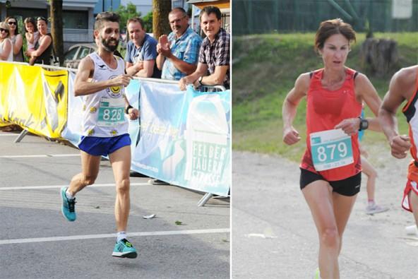 Die Schnellsten beim halbmarathon: Francesco Milella und Sonia Mair.