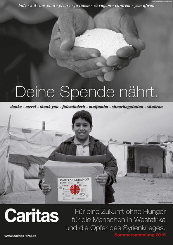 """Das Sujet für die diesjährige Kampagne der Caritas: """"Für eine Zukunft ohne Hunger."""""""