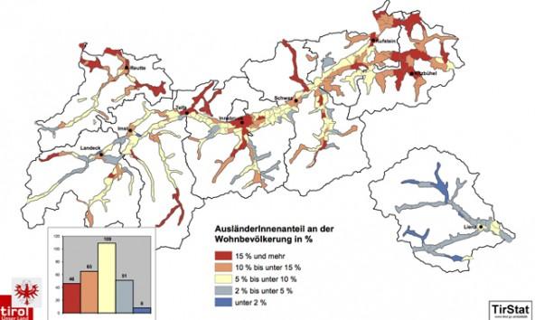 Ausländeranteil an der Wohnbevölkerung 2014 in den Gemeinden Tirols. Quelle: Demograf Daten Tirol 2014
