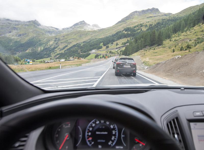 Der Streckenabschnitt aus Sicht des Fahrers.