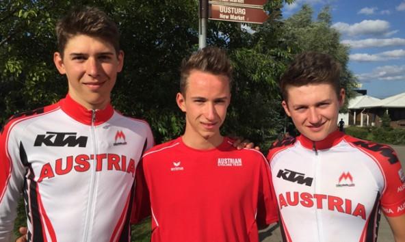 Felix Gall (ganz rechts) mit seinen Teamkollegen Patrick Gamper (links) und Marcel Neuhauser.
