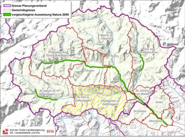 Die angepeilten Natura 2000-Gebiete sind grün markiert. Karte: Land Tirol