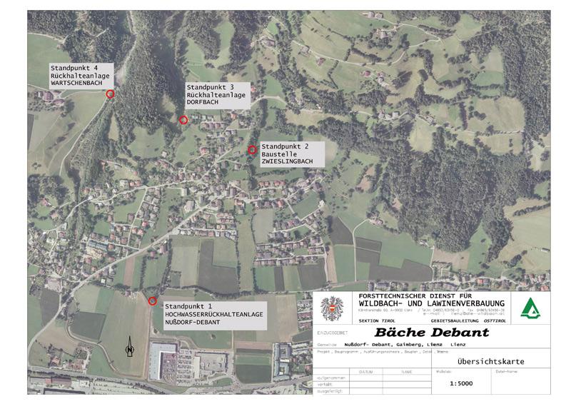 Die Führung stellt vier Standpunkte der WIldbach- und Lawinenverbauung rund um Nußdorf-Debant vor.