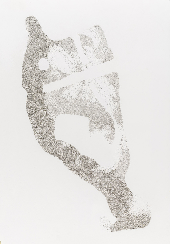 "Benjamin Zanon, ""Spur Nr. 5"" (2015), Tusche auf Büttenpapier, H 78 cm x B 57 cm"
