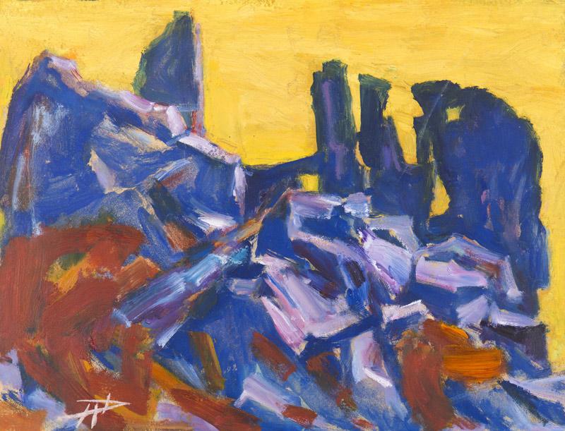 "Herbert Danler, ""Ruine Hochgalsaun"", Öllfarbe auf Holzplatte, H 39 cm x B 51 cm."