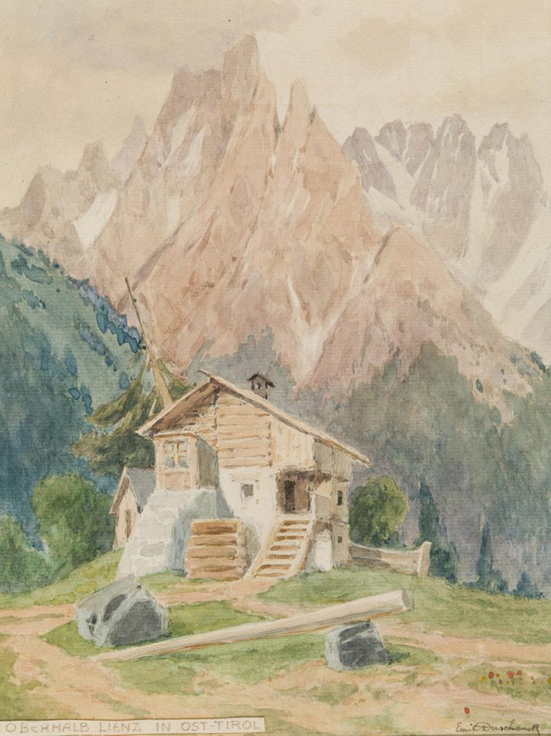 """Emil Duschanek, """"Oberhalb von Lienz in Osttirol"""", Aquarell auf Papier, H 28 cm x B 21 cm. Foto: Martin Lugger"""