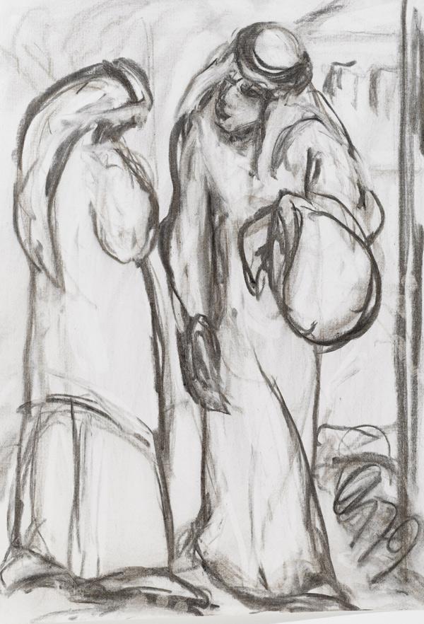 """Oswald Kollreider, """"In Bethlehem"""", Kohle, H 50 cm x B 35 cm. Foto: Martin Lugger"""
