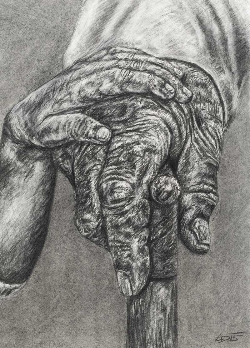 """Daniel Leiter, """"Nächstenliebe"""", Kohle/Kreide auf Papier, H 70 cm x B 50 cm. Foto: Martin Lugger"""