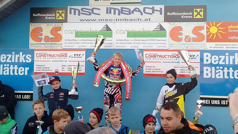 Johannes Wibmer holte sich den Titel KTM Junior Challenge und auch noch den KTM Kini Alpencup 65ccm.