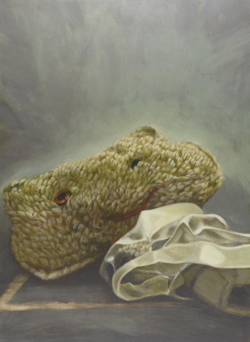 "Herbert Mayer, ""Plüsch"", Acryl auf Leinwand, H 130 cm x B 95 cm. Foto: Martin Lugger"