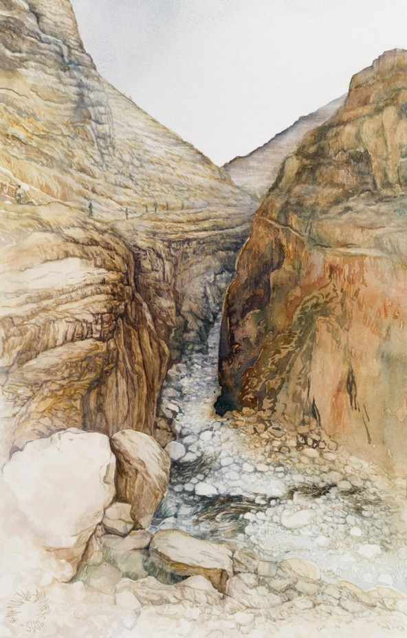"Hannelore Nenning, ""Wadi-el-Qelt – Auf den Spuren Jesu nach Jericho"" (2015), Aquarell, 2015, 70 x 50/ 45 x 28,5 cm. Foto: Martin Lugger"