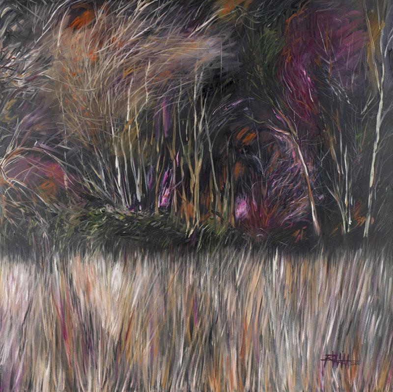 """Rudolf Unterguggenberger, """"Auf dem Jakobsweg, Galizien"""", Öl auf Baumwolle, H 100 cm x B 100 cm. Foto: Martin Lugger"""