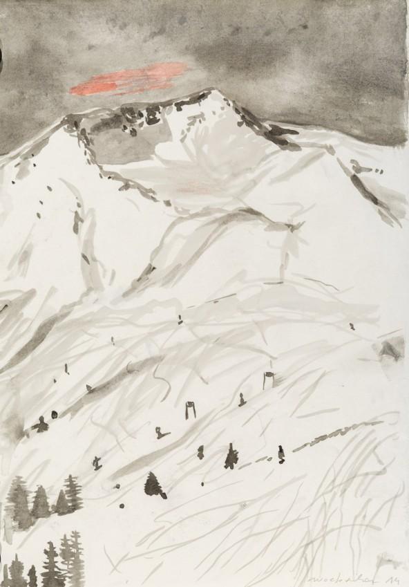 """Linda Wolfsgruber, """"Neuschnee"""", Tuschzeichnung auf Papier, H 42 cm x B 29 cm. Foto: Martin LUgger"""